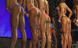 Line of Female Bodybuilders On Stage Demonstrating Their Bodies Standing Turned Backwards Royalty Free Stock Photos
