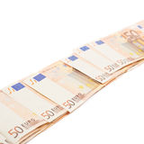 Line of fifty euro bank notes Royalty Free Stock Image