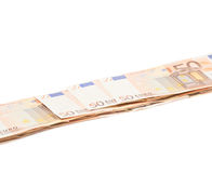 Line of fifty euro bank notes Royalty Free Stock Photography