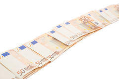 Line of fifty euro bank notes Stock Photography
