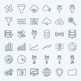 Line Filter Funnel Icons. Vector Set of Outline Data Analysis Symbols Stock Photography