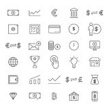 30 Line Finance Icons. Finance line icons for business. Line icons for user interfaces and web Stock Photo