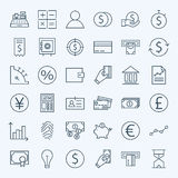 Line Finance Money and Banking Icons Set Royalty Free Stock Photo