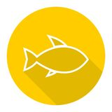 Line Fish icon with long shadow Stock Photos