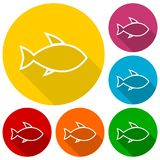 Line Fish icons set with long shadow Stock Photography