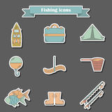 Line fishing icons Stock Photo