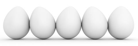 Line of blank white eggs. Line of five blank white eggs Royalty Free Stock Images