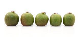 Line of five kiwi berries Stock Photo