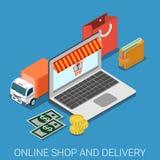 On-line-flacher isometrischer Vektor 3d des Shops und der Lieferung