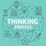 Line Flat Circle illustration thinking process Royalty Free Stock Photo