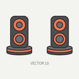 Line flat color vector computer part icon audio speakers. Cartoon. Digital gaming and business office pc desktop device royalty free illustration
