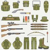 Line flat color vector hunt and camping equipment icon set. Hunter equipment, armament. Retro cartoon style. Wildlife. Travel. Camouflage. Forest. Nature Stock Images