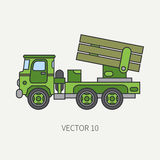 Line flat color vector icon armored reactive systems of salvo army truck. Military vehicle. Cartoon vintage style Stock Photos