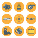 Line flat color vector icon car parts set with undercarriage end internal combustion engine elements. Industrial Royalty Free Stock Photography