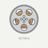 Line flat color vector icon elements of filmmaking and multimedia 35mm film bobbin. Cartoon style. Cinema. Vector Stock Photo