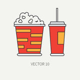 Line flat color vector icon elements of movie theater pop culture - popcorn, cola. Cartoon style. Cinema. Vector Stock Image
