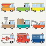 Line flat color vector icon set cute retro city auto . Emergency assistance vehicle. Cartoon style. Urban truck. Police. Van. Firefighter. Vector illustration Stock Photos