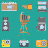 Line flat color vector icon set with retro analog film cameras. Photography and art. Reflex 35mm photocamera. Cartoon. Style. Illustration, element for your Stock Image