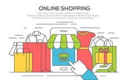 Line flat design banner for online shopping. Thin line flat design banner for shopping, e-commerce, online shopping Stock Image