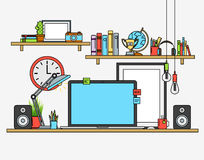 Line flat design mock up of modern workspace. Vector illustrations  posters, lamp, pencils, globe, winner cup, banners Royalty Free Stock Photos