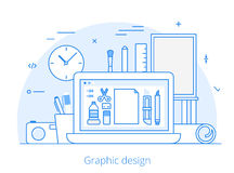 Line Flat graphic design website art tools vector. Lineart Flat graphic design website hero image vector illustration. Digital art tools and technology concept stock illustration