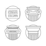 Line flat icons Columns. elements of a corporate logo. vector set Stock Images