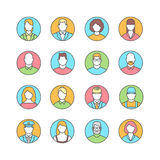 Line flat icons of people avatars profession. Line icons with flat design elements of people avatars profession vector illustration