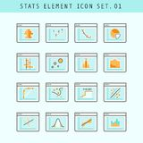 Line Flat Icons Statistic Elements Set 01 Royalty Free Stock Image