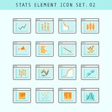 Line Flat Icons Statistic Elements Set 02 Stock Photo