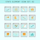 Line Flat Icons Statistic Elements Set 02 Stock Photo