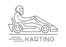 Line and flat karting logo and symbol. Silhouette figures kart r Stock Images