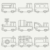Line flat monochrome vector icon set cute retro city auto . Emergency assistance vehicle. Cartoon style. Urban truck. Police van. Firefighter. Vector Stock Image