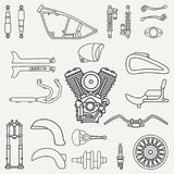 Line flat plain vector motorcycle icon classic bike repair set. Retro. Cartoon style. Biker motoclub. Gasoline engine Stock Photography
