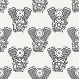 Line seamless pattern vector motorcycle classic bike v power motor. Legendary retro. Cartoon style. Biker motoclub Royalty Free Stock Photography
