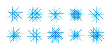 Line flat style snowflakes set. Vector set of asymmetric line snowflake icons on white background. Minimal flat design. Winter  Christmas decoration elements Stock Photo
