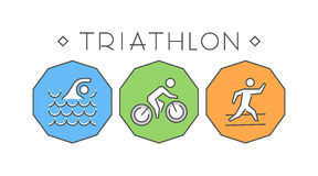 Line and flat triathlon logo. Swimming, cycling and running icon Stock Photos