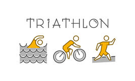 Line and flat triathlon logo. Swimming, cycling and running icon Royalty Free Stock Image