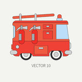 Line flat vector color icon fire truck. Emergency assistance vehicle. Cartoon style. Fireman. Maintenance. Rescue. Fire. Department. Extinguisher. Siren. Road Royalty Free Stock Photography