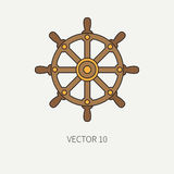 Line flat vector color marine icon with nautical design elements - steering wheel. Cartoon style. Illustration and Royalty Free Stock Image