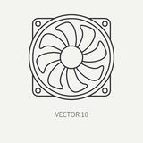 Line flat vector computer part icon cooling fan. Cartoon style. Digital gaming and business office pc desktop device Stock Image