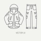 Line flat vector hunt and camping icon khaki jacket, pants. Hunter equipment. Retro cartoon style. Wildlife travel Stock Images