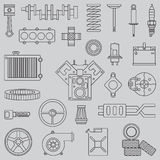 Line flat vector icon car parts set with undercarriage end internal combustion engine elements. Industrial. Cartoon Royalty Free Stock Images