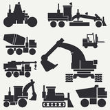 Line flat vector icon construction machinery set with bulldozer, crane, truck, excavator, forklift, cement mixer Stock Photography