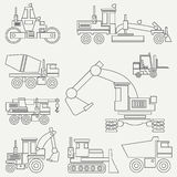 Line flat vector icon construction machinery set with bulldozer, crane, truck, excavator, forklift, cement mixer royalty free stock photo