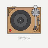 Line flat vector icon with retro electrical audio device vinyl record-player. Analog music. Cartoon style. Nostalgia Stock Images
