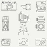 Line flat vector icon set with retro analog film cameras. Photography and art. Reflex 35mm photocamera. Cartoon style. Illustration, element for your design Royalty Free Stock Photos