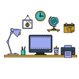 Line flat vector illustration workspace with desktop computer, work place, equipment in office interior. Stock Photography