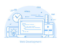 Line Flat web site development programming vector. Lineart Flat responsive web development layout website hero image vector illustration. App programming Royalty Free Stock Image