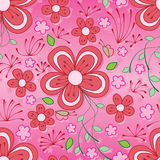 Line flower butterfly seamless pattern Stock Image