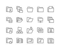 Line Folder Icons. Simple Set of Folders Related Vector Line Icons. Contains such Icons as Repository, Sync, Network Folder and more. 48x48 Pixel Perfect Stock Images